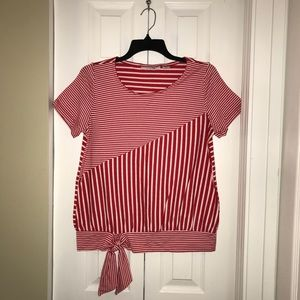 Red & White Tie Knot Top